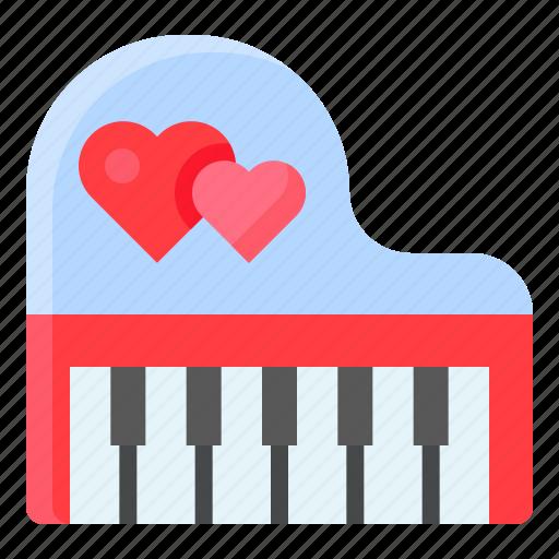 heart, instrument, love, music, piano, romance, romantic icon