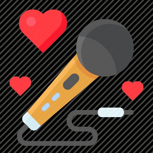 heart, love, mic, microphone, romance, romantic, valentine icon
