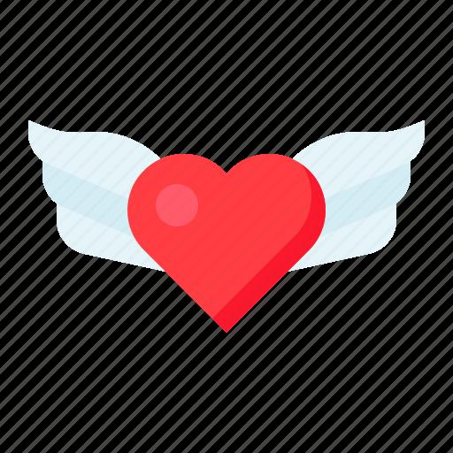 fly, heart, love, romance, romantic, valentine, wing icon