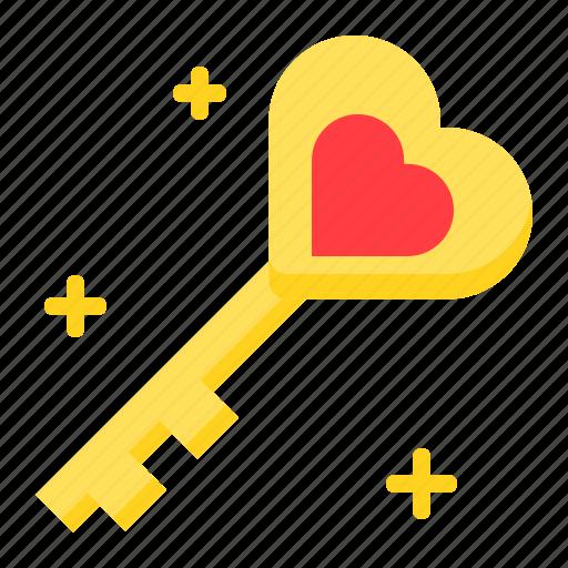 heart, key, love, romance, romantic, valentine icon