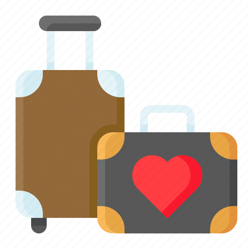 bag, heart, love, luggage, romance, romantic, travel icon