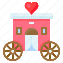 carriage, heart, romance, romantic, transport, valentine, vehicle icon