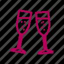 celebration, champagne, dinner, love, romantic, wedding icon