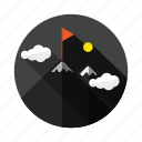 achievement, business, cloud, flag, mountain, success, summit icon