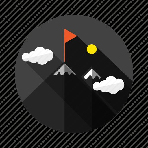 achievement, business, cloud, flag, mountain, success, summit icon