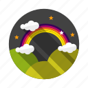 cloud, rainbow, sky, stars, valley icon