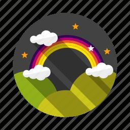cloud, rainbow, sky, stars, valley icon