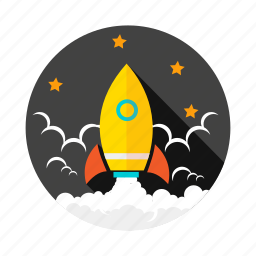 launch, rocket, space ship, stars, success icon