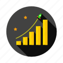 analytics, business, chart, report, rocket, sales, stars, success icon