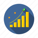 achievement, goal, graph, investment, mission, profit, vision icon