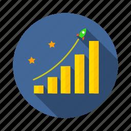 achievement, goal, graph, investment, mission, profit, vision icon
