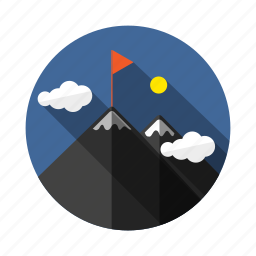 achievement, goal, hill, mission, mount, tracking, vision icon