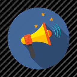 announcement, bullhorn, megaphone, mission, voice icon