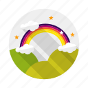 cloud, landscape, raibow, sky icon
