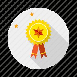 award, badge, ribbon, seal, win icon