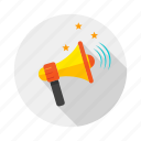 announcement, bullhorn, megaphone, statement, voice icon