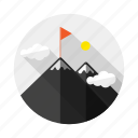 achievement, flag, goal, mount, mountain, peak, win icon
