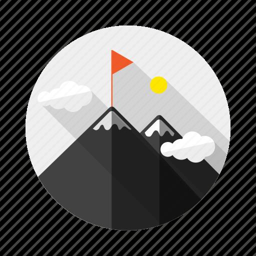 achievement, flag, goal, mount, mountain, peak, win icon