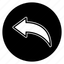 arrow, feedback, reply, round icon