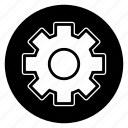 custom, gear, round, settings icon