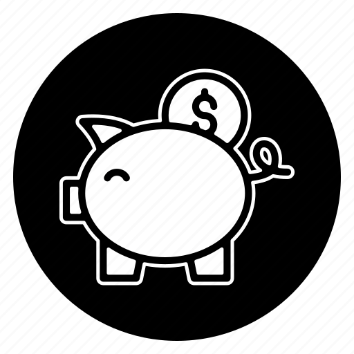 back, cash, currency, finance, money, piggy bank, round icon