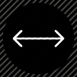 arrow, distance, left, move, right, round icon