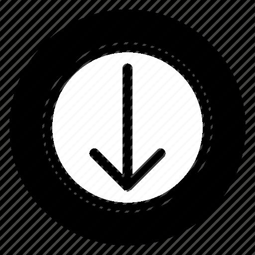 down, move, round icon
