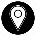 location, map, pin, round icon