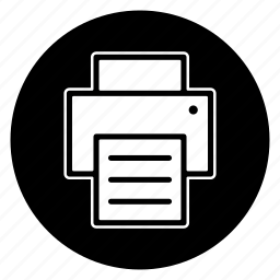 copier, print, printer, round icon
