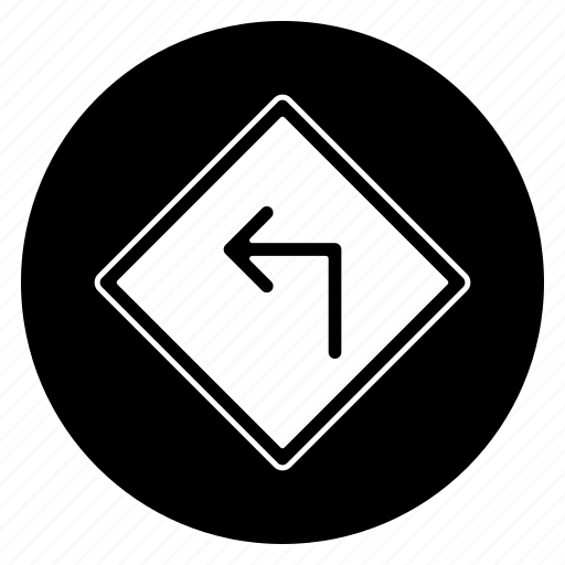 direction, left, road, round, sign icon