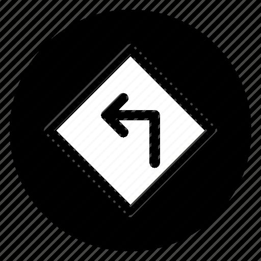 left, road, round, sign icon