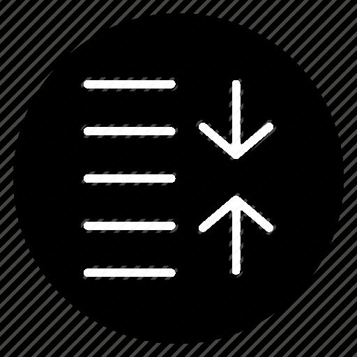 decrease, round, spacing icon