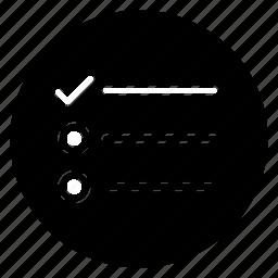 list, round, survey, tasks icon