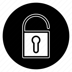 circle, lock, protection, round, security, unlock icon