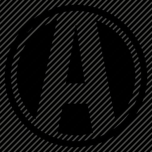a, alphabet, character, logo, round, social icon
