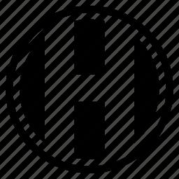 alphabet, character, h, round icon