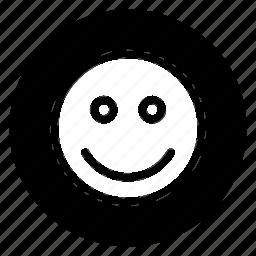 emoji, emoticon, face, happy, media, round, social icon