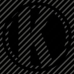 alphabet, character, k, round icon
