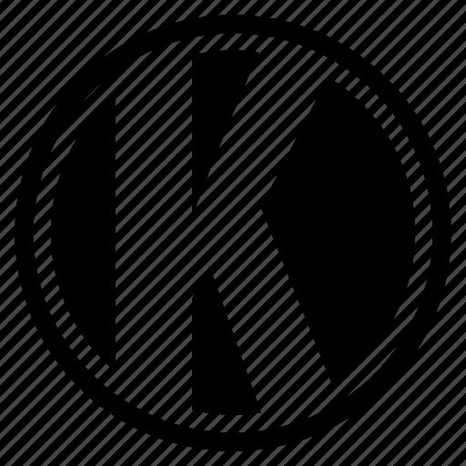 alphabet, character, k, letter, logo, round icon