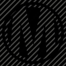alphabet, character, m, round icon