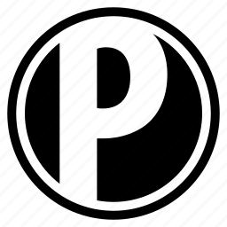 alphabet, character, p, round, social icon