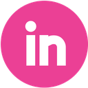 linkedin, media, pink, round, social icon