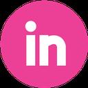 linkedin, media, pink, round, social