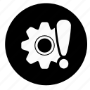 attention, gear, options, settings, warning icon