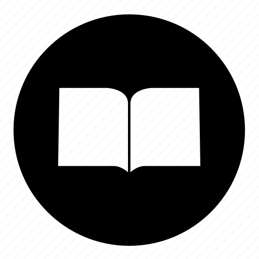 book, literature, open, round, text icon