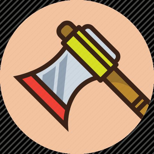 axe, halberd, hatchet, lumber, rounded, trekking, weapon icon