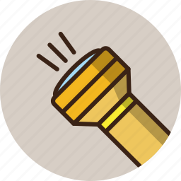 flashlight, guide, lamp, rounded, search, trekking icon