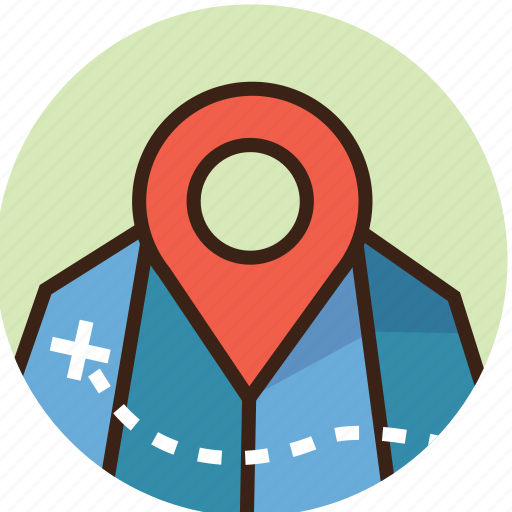 destination, direction, location, map, pin, rounded, trekking icon