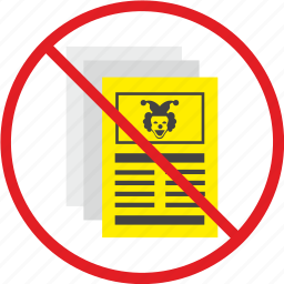 clown, false, news, newspaper, press, stop, yellow icon