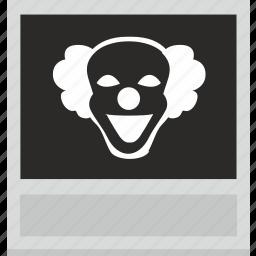 clown, horror, photo, polaroid, shot, smile, terrible icon